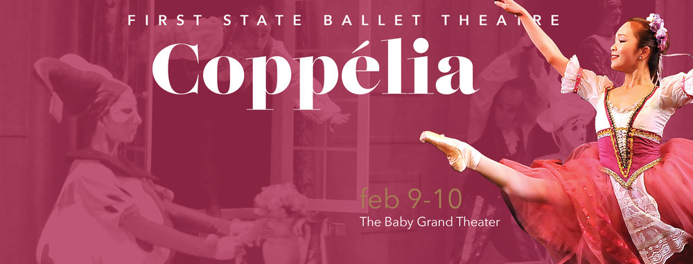 Coppélia, a comedic ballet, is the story of a clever young girl named Swanhilda, her fiancé Franz, the beautiful mechanical doll Coppélia, and an eccentric toymaker, Dr. Coppelius, who dreams of making a doll come to life.   A delightful tale the whole family can enjoy!    Saturday, February 9, 2019 at 7 p.m.    Sunday, February 10, 2019 at 2 p.m.    Tickets: $30 - $50    The Baby Grand Theater    818 Market Street    Wilmington, DE 19801