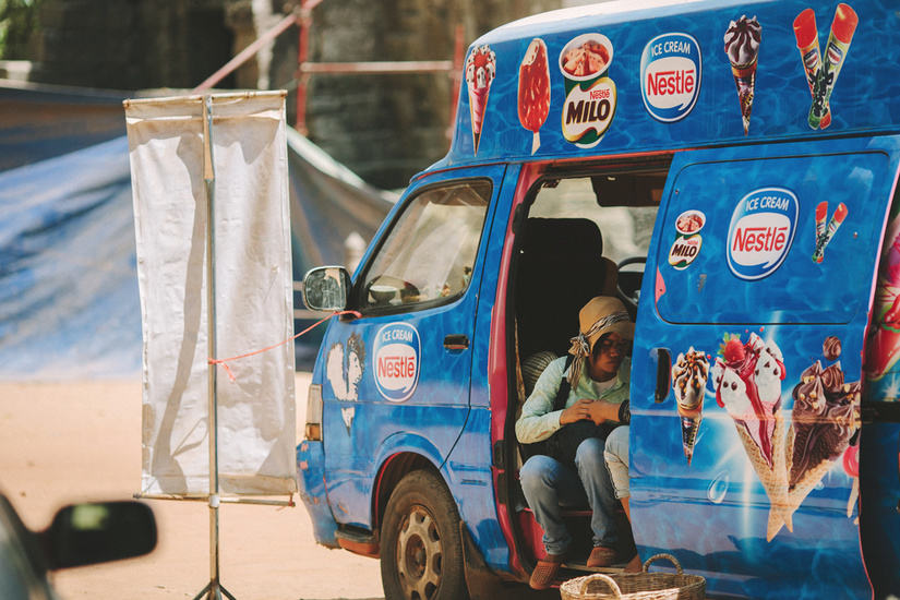 American brand Nestle ice cream for sale out of a truck Angkor Wat, Cambodia