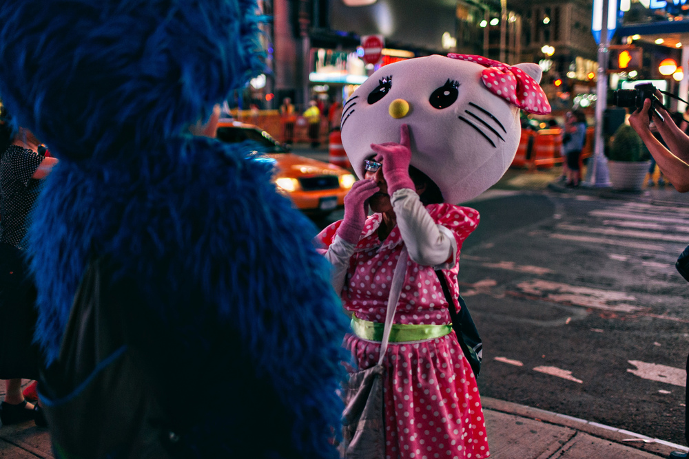 Hello Kitty takes a rest in New York's Time Square - According to Travel + Leisure's October 2011 survey, Times Square is the world's most visited tourist attraction, with 39 million visitors annually.