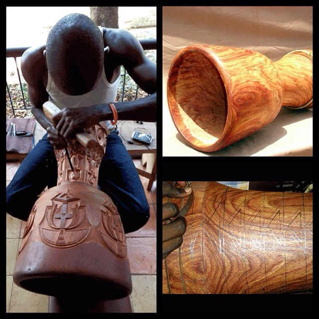 Phase 3 - decorating the #djembe!  Our master carvers have created many masterpieces over the years.  Since we have our own workshop in #Guinea, we are able to create custom drums for customers around the world, with photos at each stage.  With a Wula Drum, you know where your drum comes from!  Our carvers make masterful djembes - and have a reliable source of income!  #fairtrade #africa #percussion #drums #woodworking #carving #art #music #design #deltoids