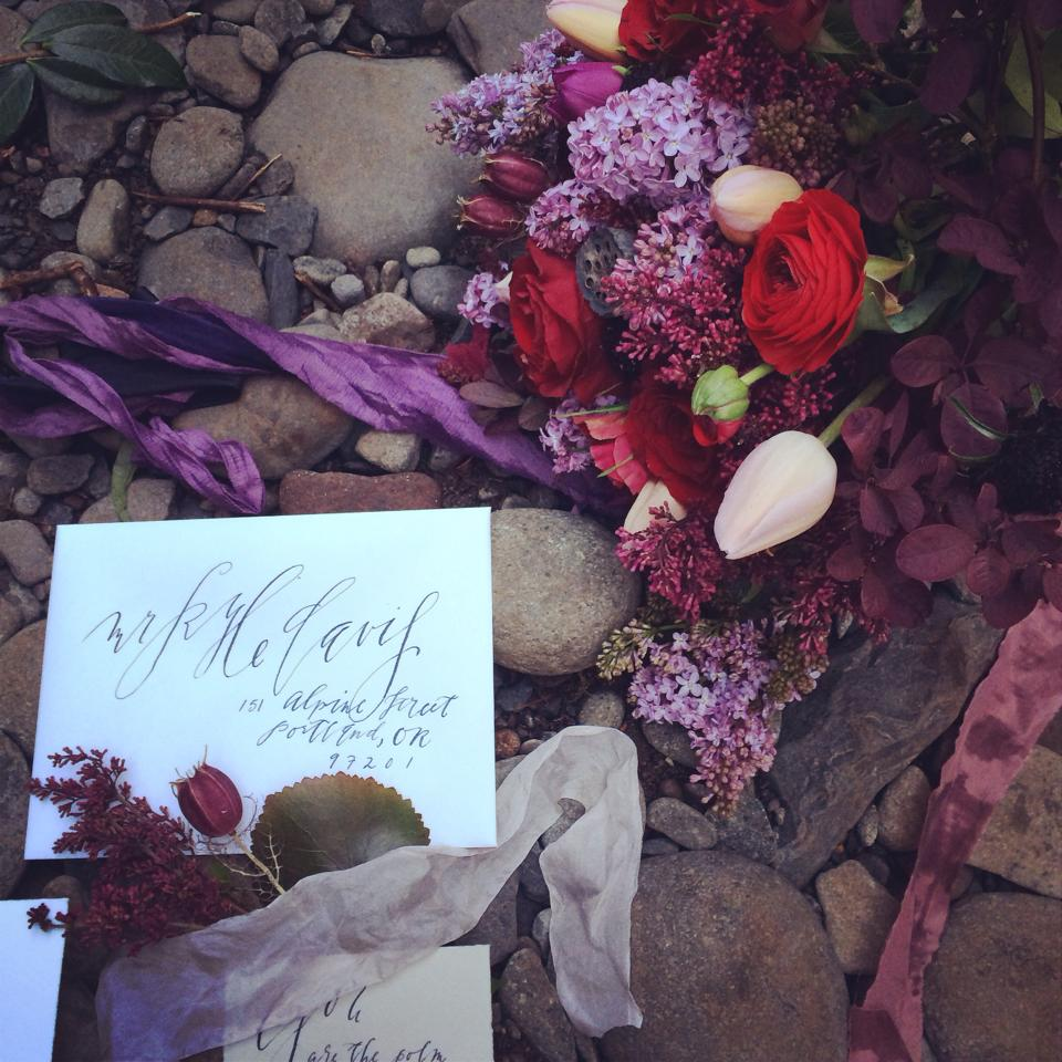 my own instagram of my flowers, with ribbon by Silk and Willow and calligraphy by Kelsey Malie Calligraphy