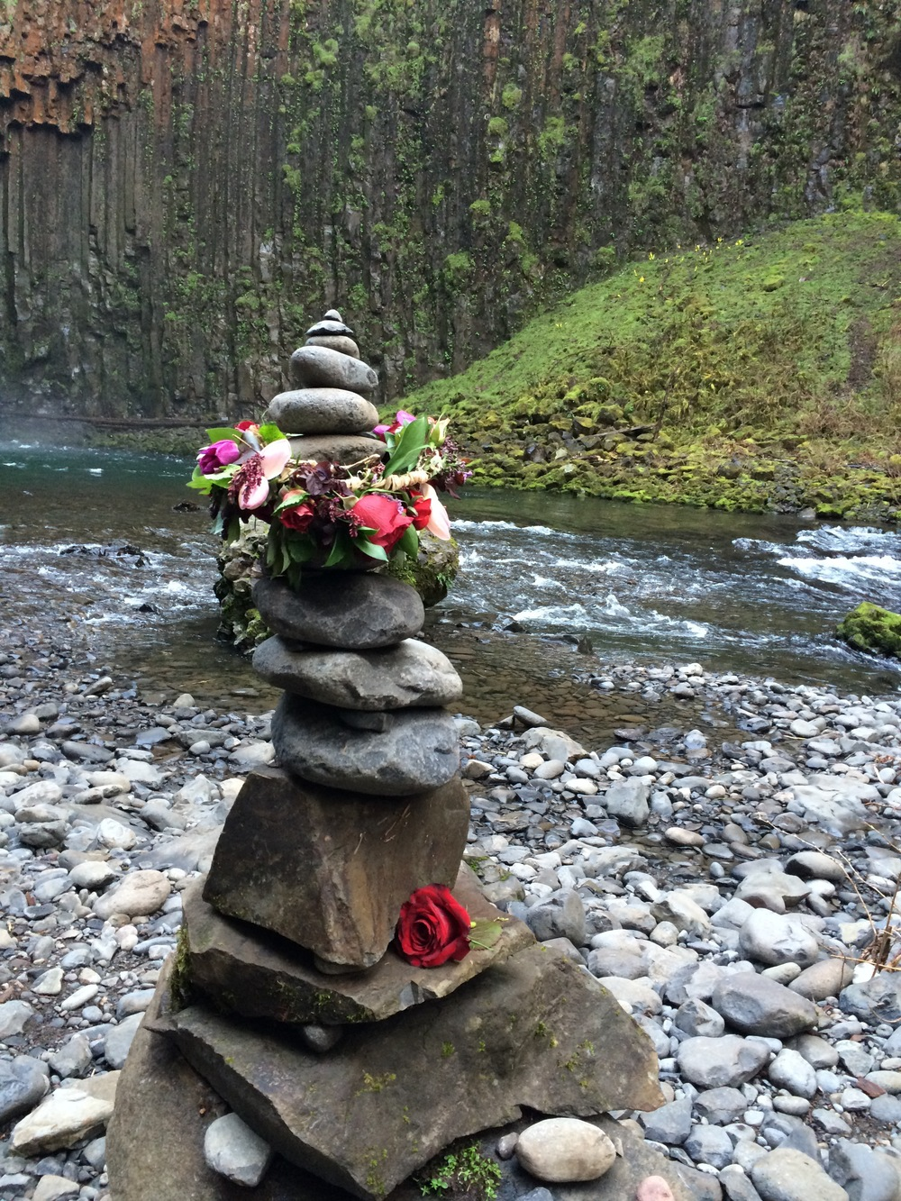 That flower crown was never going to make it back up the hill and home, so I left it as an offering on this wonderful monument that some previous adventurer had left behind