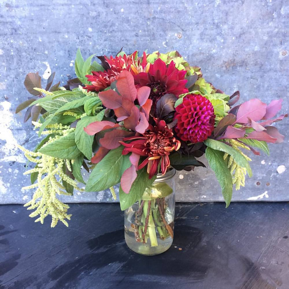 The bride loved a similar bouquet she had seen in my portfolio and particularly wanted greens and deep reds.