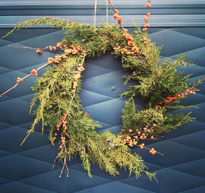 local fir and berries wreath