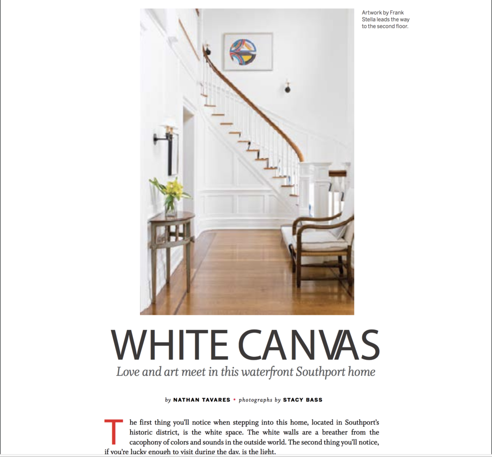 """Fairfield Living  magazine cover story, """"White Canvas"""""""