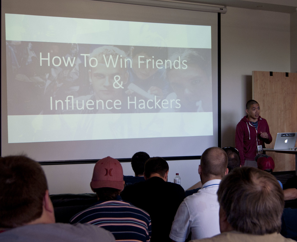Jimmy Vo presenting at BSides Asheville - How To Win Friends and Influence Hackers