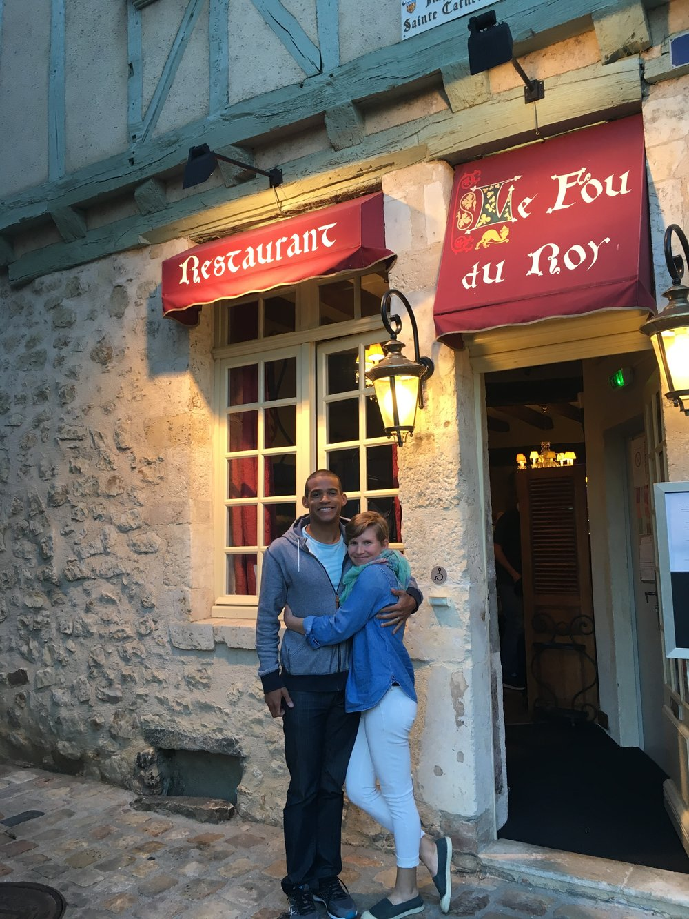 Before our dinner at  Le Fou du Roy  in Le Mans