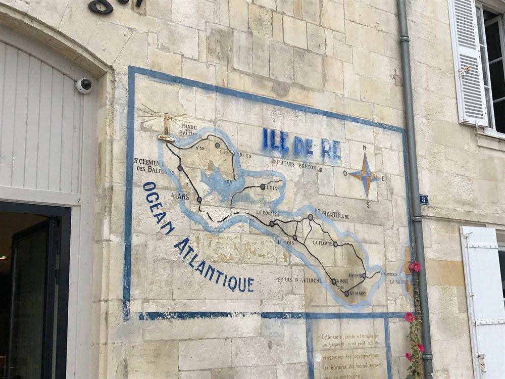 A map of Ile de Ré on the wall of a bakery in  Saint-Martin
