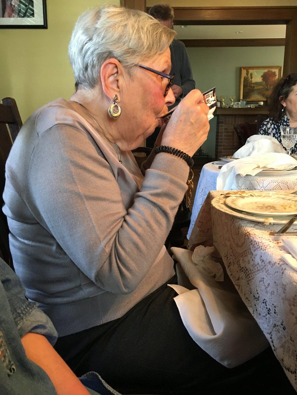 Grandma Blanche ensuring to get every last drop.