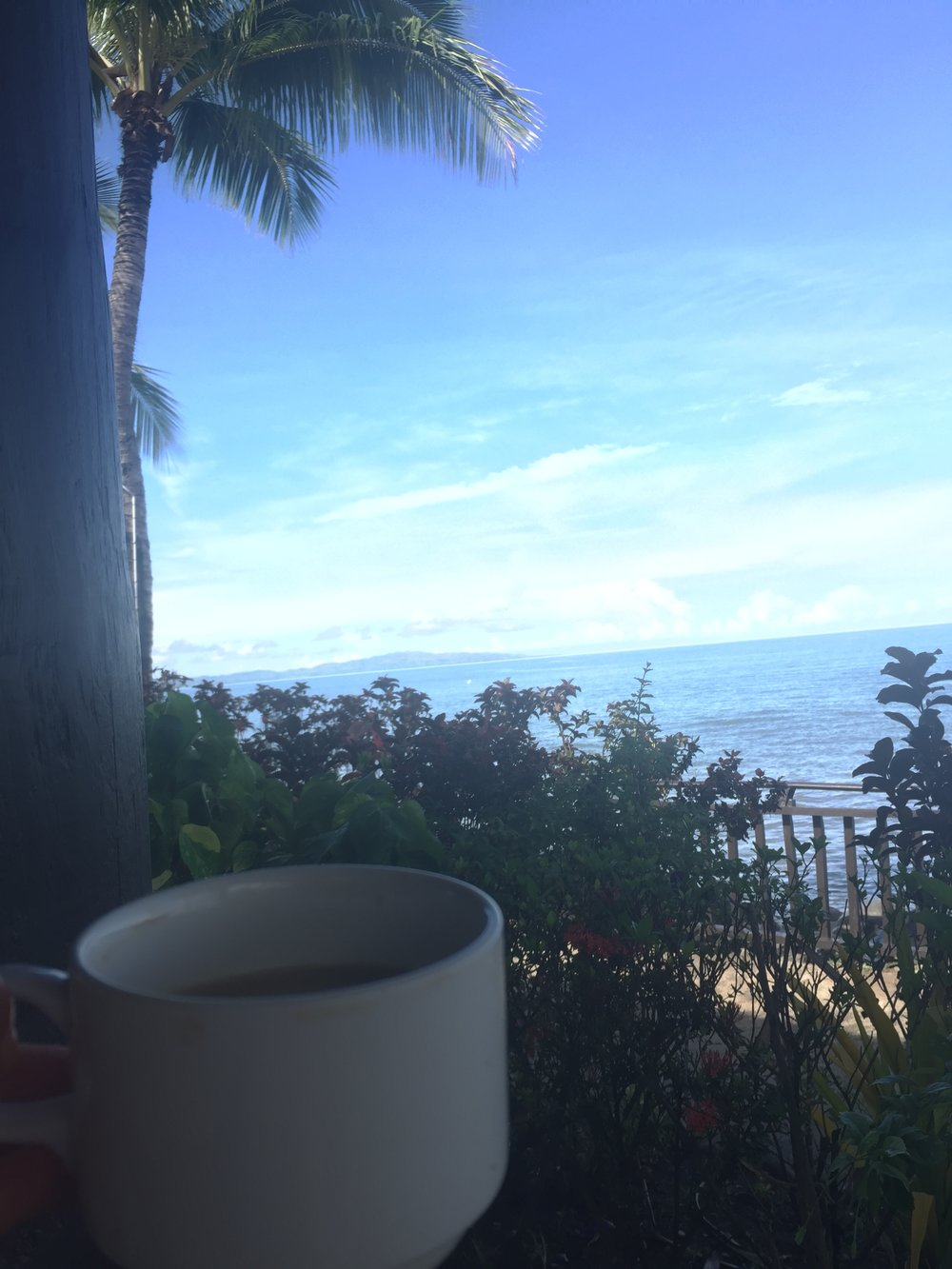 Breakfast day two overlooking the ocean, with a Flat White