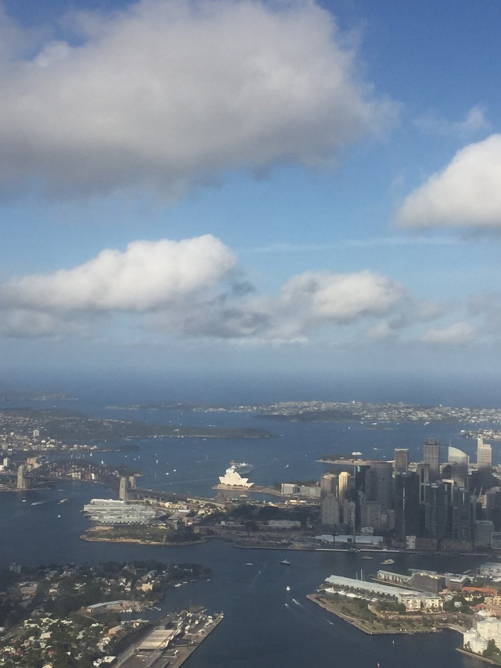 View of the Opera House from the plane arriving in Sydney