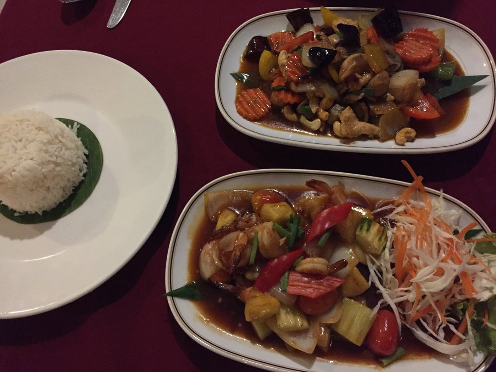 Cashew Chicken (top), Sweet and Sour Shrimp (bottom)