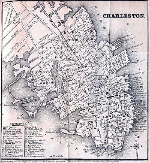 1849 Map of Charleson, South Caroline, courtesy of AMDOCS