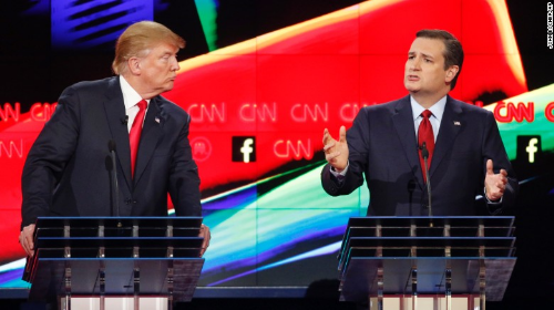 The two Republican front runners for the nomination, Trump and Cruz.  Courtesy of CNN.com