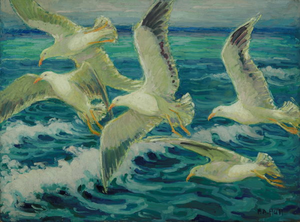 Marie Hull (1890-1980), Gulls in Flight. oil on wood.  Collection of the Mississippi Museum of Art. Gift of the artist.