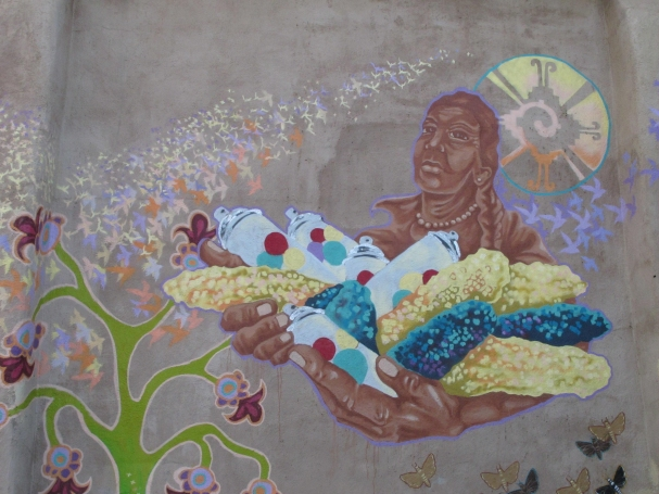 Peñasco Theater Mural Detail.   By Artists Rebekah Tarin and Amaryllis DeJesus Moleski