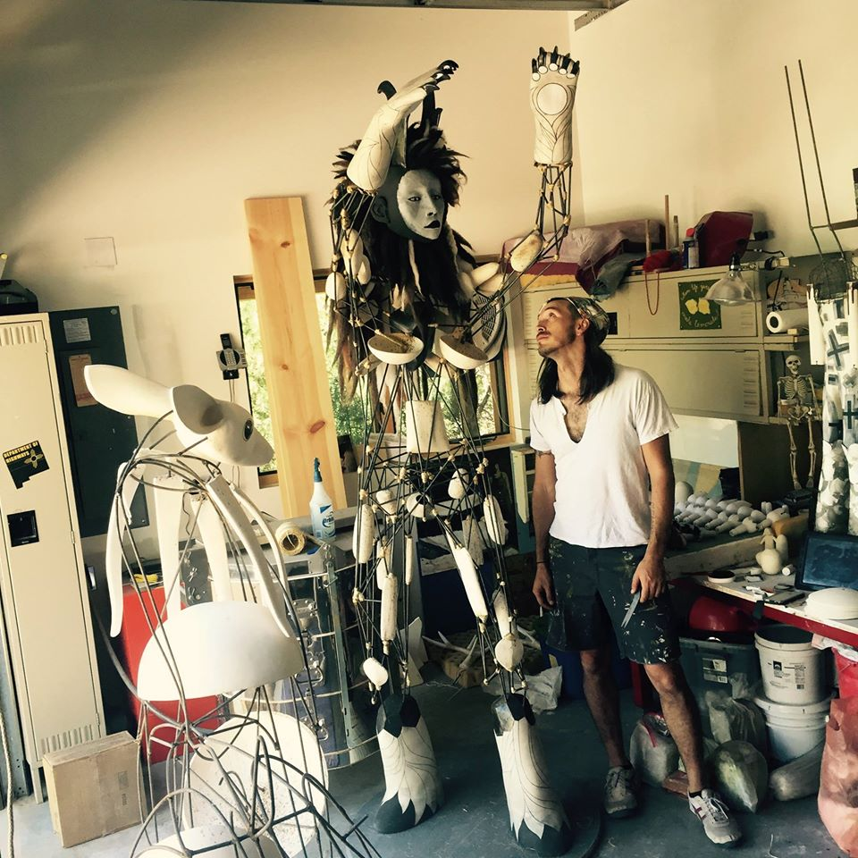 Cannupa Hanksa at his studio in New Mexico