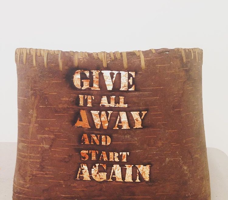Only Available Light,(series) birch bark, cedar root and copper foil, laser cut text, 2016. Tania Willard