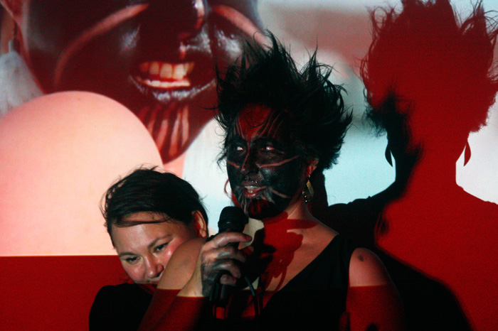 Tanya Tagaq and Lakkuluk Williamson Bathory #callresponse performance at the Native Education College Vancouver, BC.