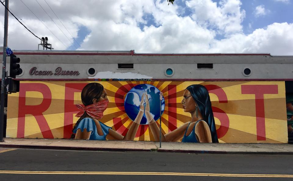 """¡RESISTE!"" Mural by Nanibah Chacon in conjunction with The Art of Indigenous Resistance exhibition at Self Help Graphics Los Angeles, CA. 2017"