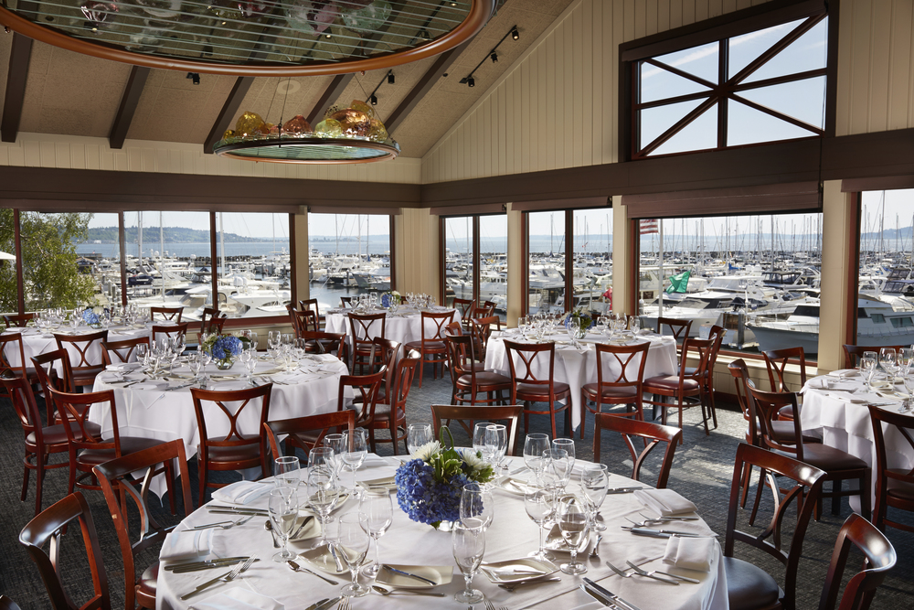The Orchid Room: Located west of Palisade's main dining room, it features hand blown artisan glass chandeliers, and a sweeping view of the downtown Seattle city skyline, Mt. Rainier, Bainbridge Island and the Olympic Mountains.