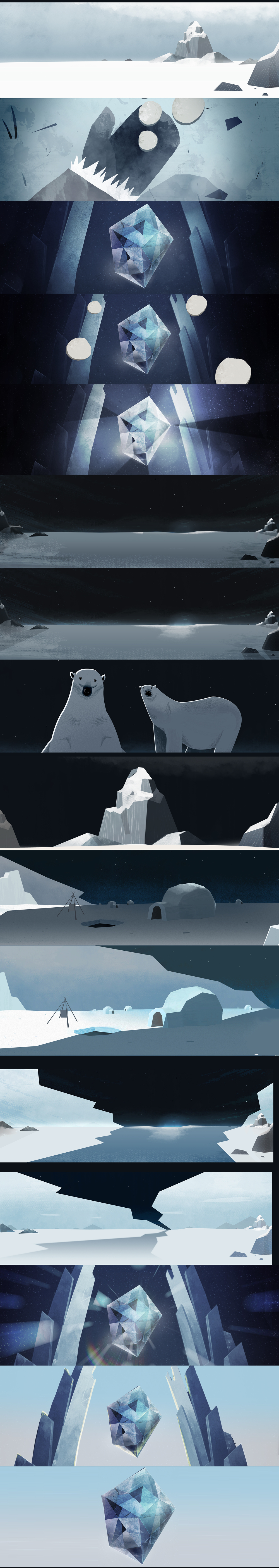 Outro Styleframes / Storyboards (Polar Bear illustration by Kim Leow)