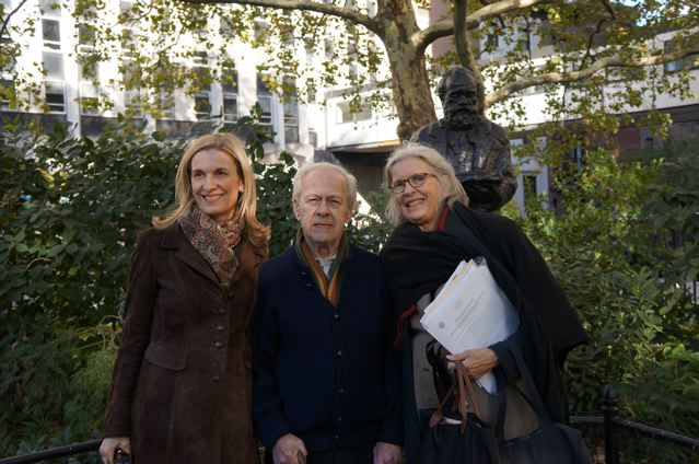 Walking tour destination:  The bronze Dvořák statue located at Stuyvesant Square Park near the former site of the Dvořák House at 327 E. 17th St. in New York City.  Left to right:  DAHA President Susan Lucak and DAHA Board Members Jack Taylor and Majda Kallab Whitaker, the tour leader.  Photo Credit:  Nancy Wight