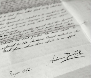 The contract that brought Dvořák to America, on recent exhibit in the Dvořák Room of the Dvořák American Heritage Association at the Bohemian National Hall. Photo credit: Roman Franc.