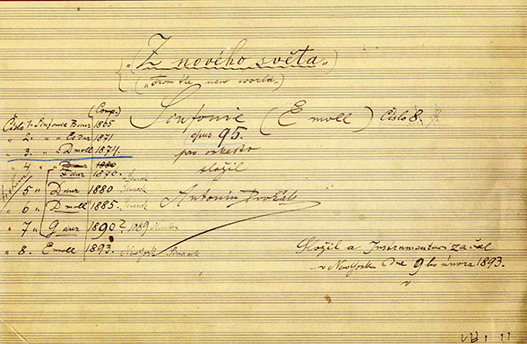 "Antonín Dvořák, Symphony No. 9, ""From the New World."" Image courtesy of Czech Museum of Music, Prague."