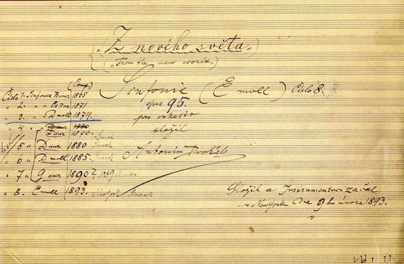 """Antonín Dvořák, Symphony No. 9, """"From the New World."""" Image courtesy of Czech Museum of Music, Prague."""
