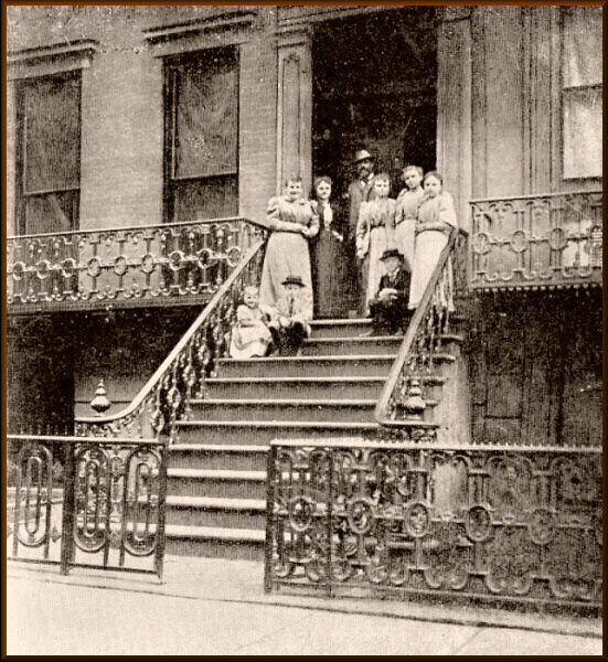 Dvořák and family on the steps of their residence on East 17th St New York, 1893.