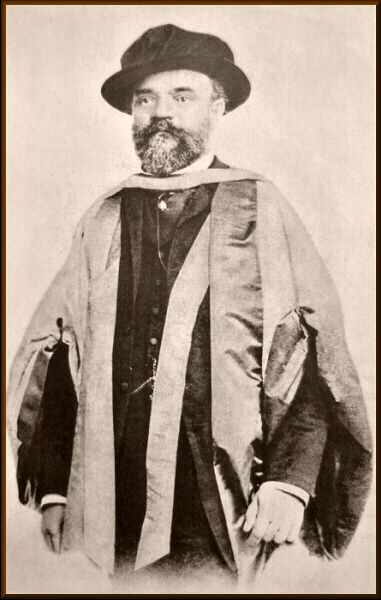 Dvořák in his graduation gown upon receipt of his honorary doctorate in Cambridge, 1891.