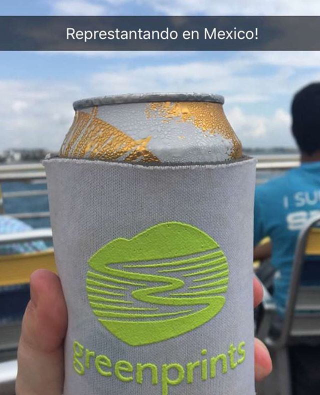 One of our favorite Greenprints followers went to Cancun prepared with this stylish Koozie!  Happy trails to you, thanks for taking us along!