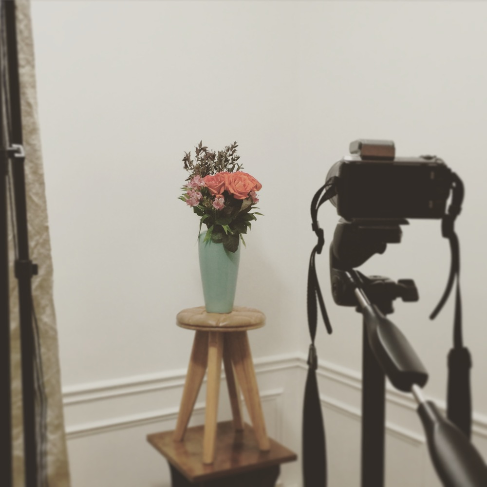 Waiting for her to arrive. Test shoot with the flowers!