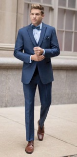 """Blue tuxes are definitely a statement this year.  Go Ultra Slim or Indigo and stand out from the crowd!"""