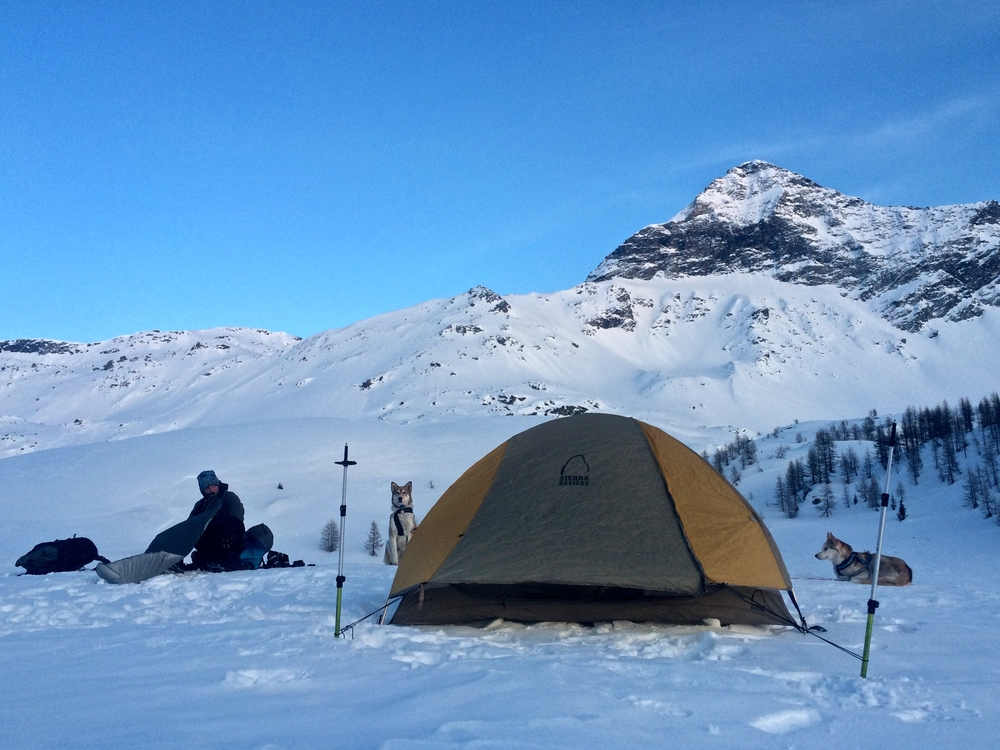 Our camp below Pizzo Scalino.
