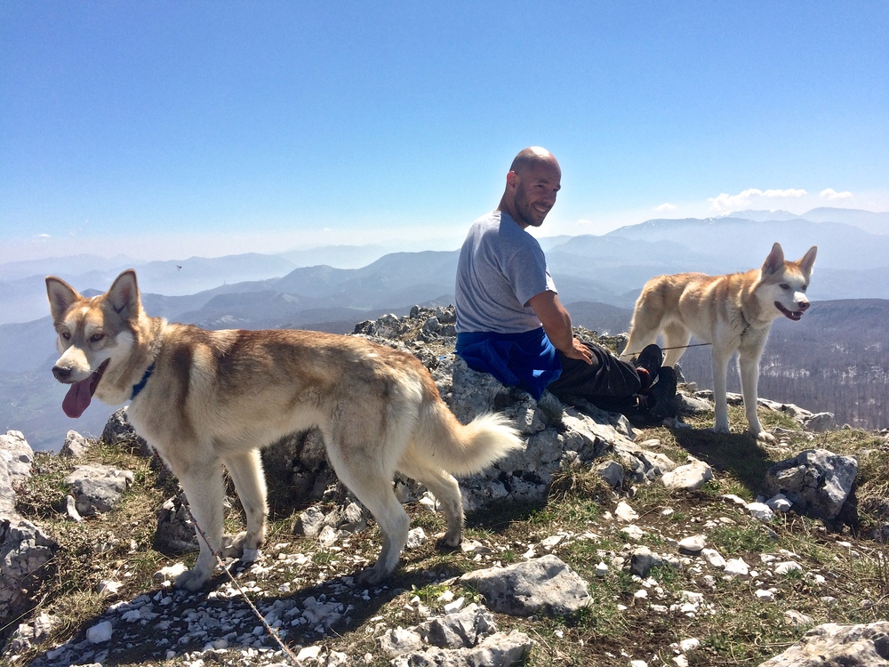 Balto, Alessio, and Lupa enjoying the sun and views from the top of Panormo.