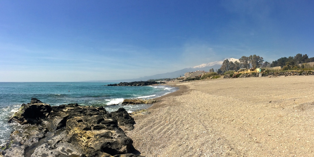 The beach in Giardini-Naxos, not crowded at all in April.