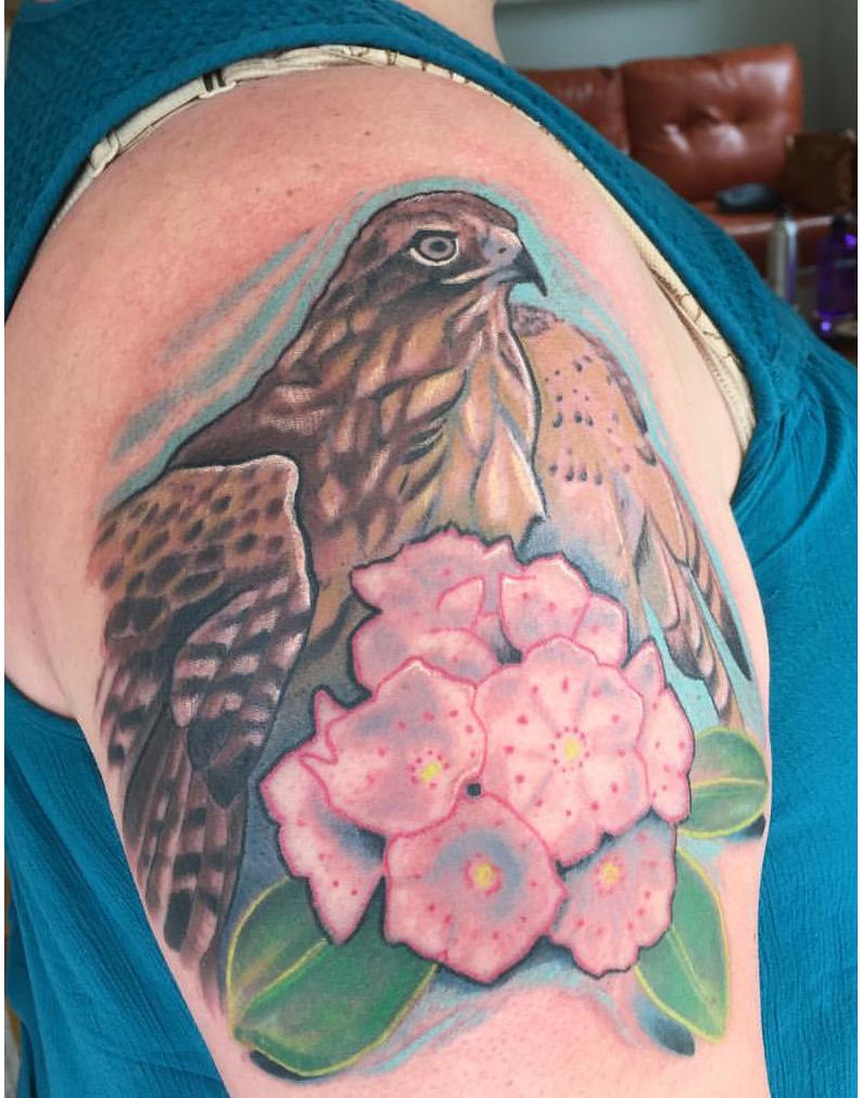 Hawk Laurel Tattoo
