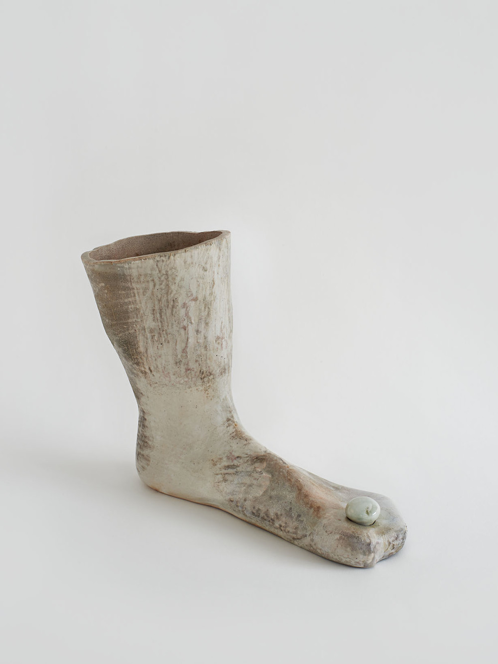 Kristen Jensen,  Like a Pearl Between Her Toes,  2013 - 2014, Anagram fired porcelain with shino and luster glaze