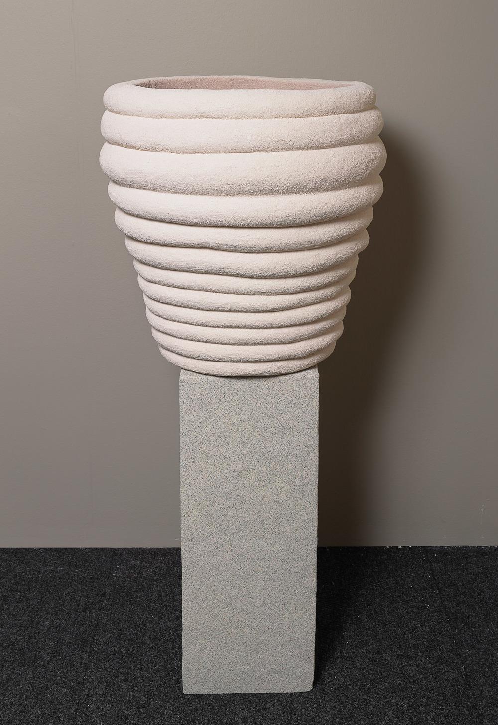 Rachel Higgins   , Vessel,    2015  , Styrofoam, foam pipe insulation, pool noodle, polystyrene, fiberglass, cement, cerastone  , 25 x 24 in. diameter   ; Organizer  , 2015,  Polystyrene, fiberglass, cement, cerastone  , 34 x 12 x 12.5 in.