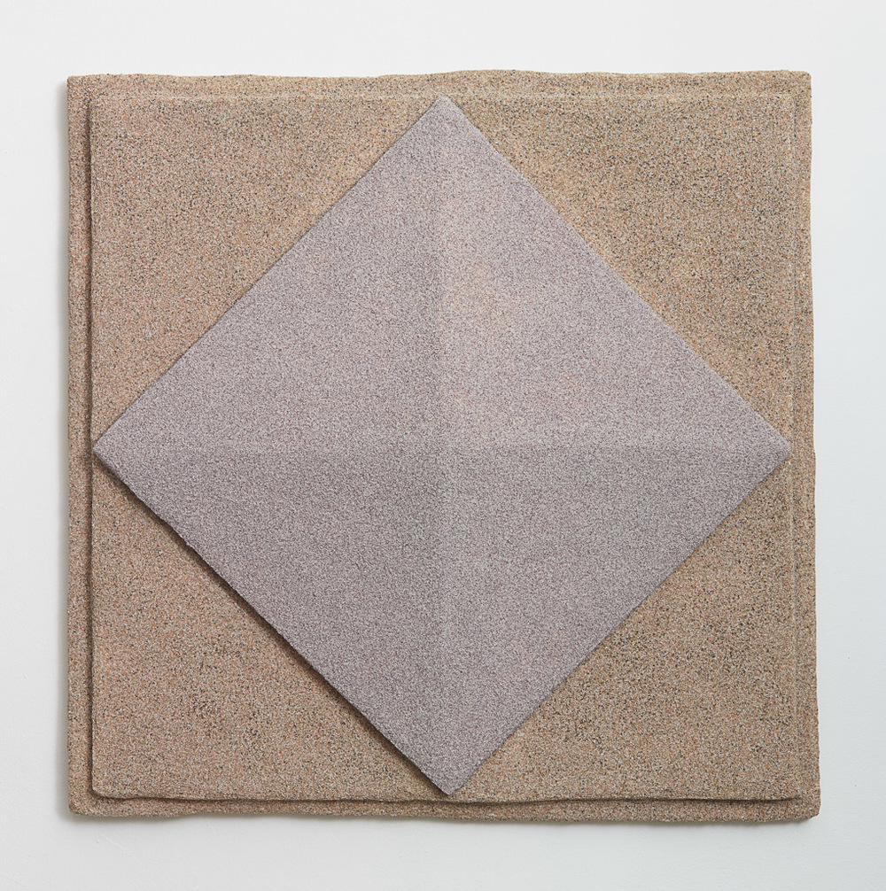 Rachel Higgins, Facade I, 2014, Polystyrene, fiberglass, cement, cerastone, 34 x 34 x 4 in (86.36 x 86.36 x 10.16 cm)