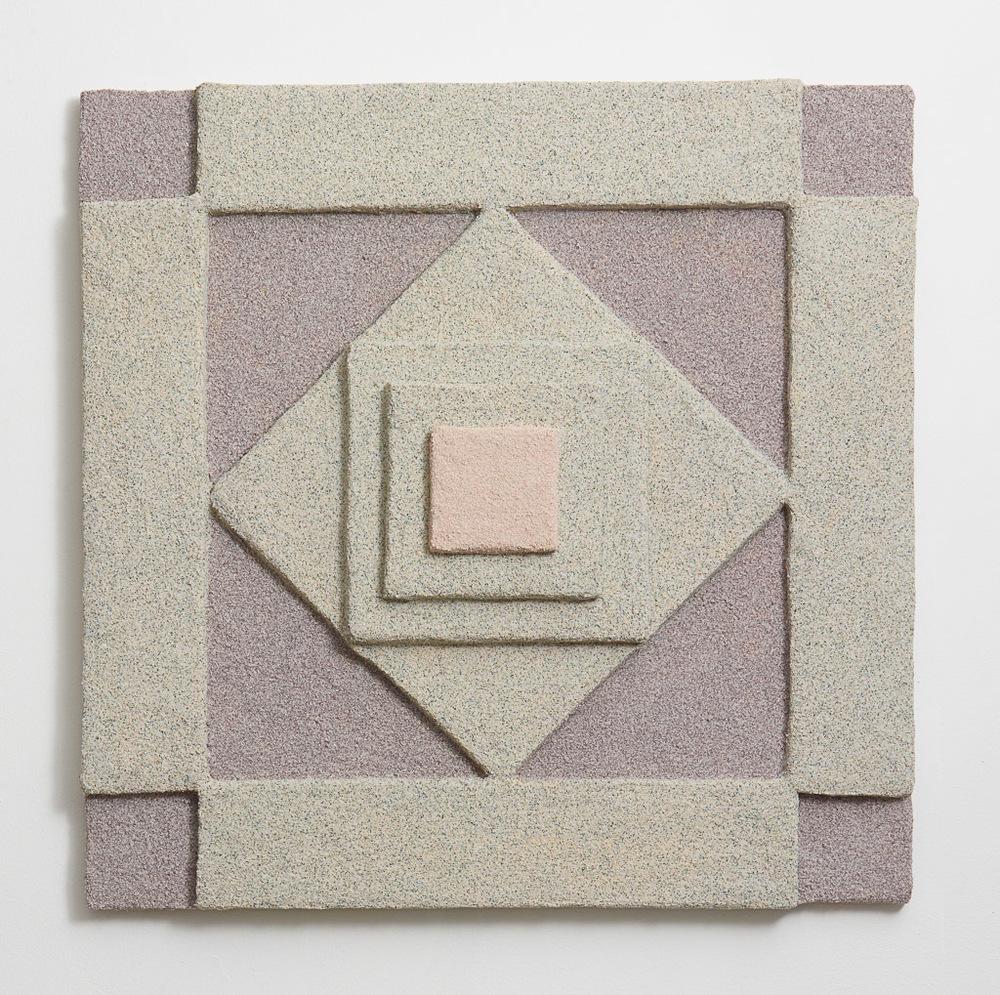 Rachel Higgins, Facade II, 2014, Polystyrene, fiberglass, cement, cerastone, 34 x 34 x 4 in (86.36 x 86.36 x 10.16 cm)