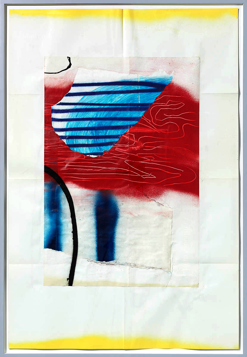 Josh Slater     Lava Veins,    2015   Painted cut, torn, and pasted printed papers, spray paint on printed paper   Framed dimensions:   42 x 29 in. (106.68 x 73.66 cm)  , JOS1049