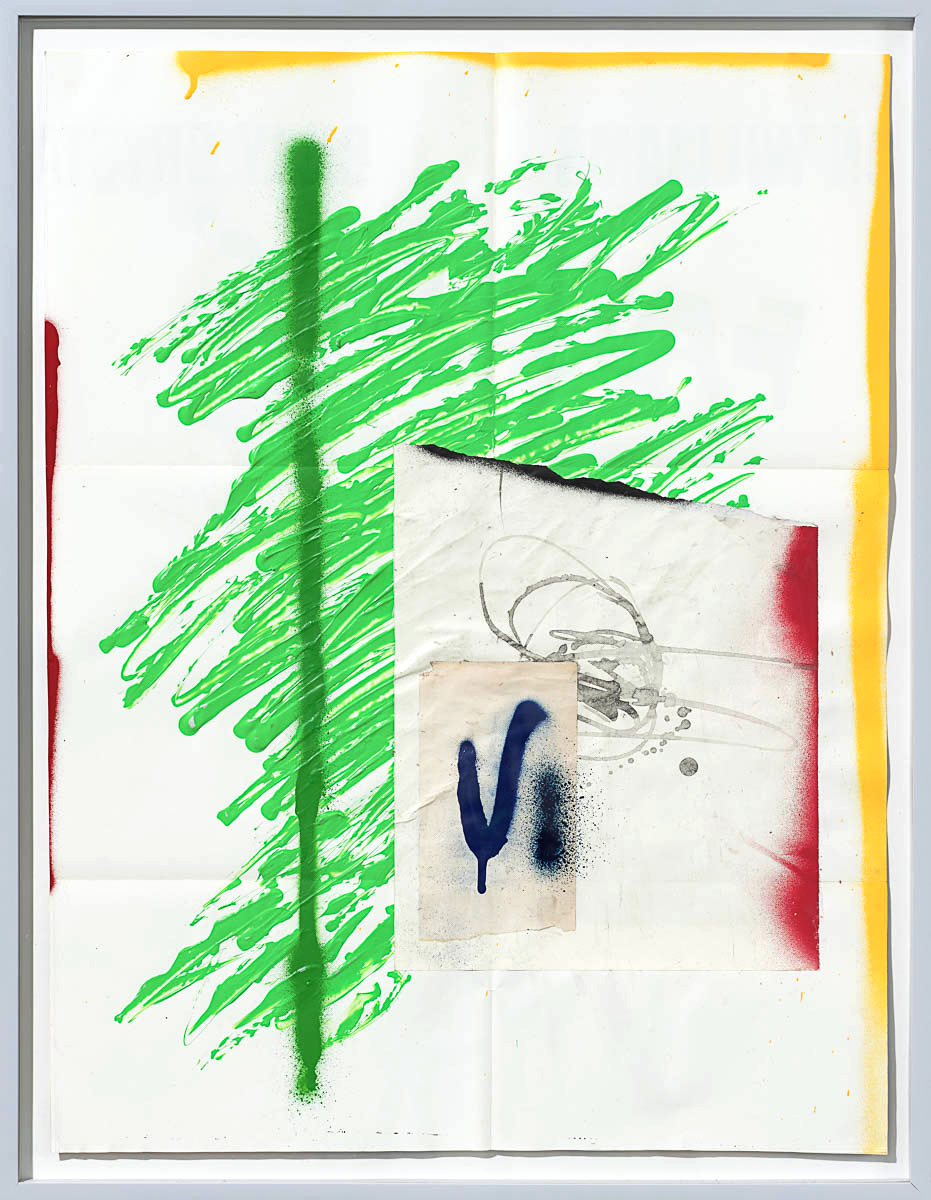 Josh Slater     Wandering Eye   , 2015   Painted cut, torn, and pasted printed papers, sumi ink, spray paint on printed paper   Framed dimensions:   29 x 22 3/8 in. (73.66 x 56.83 cm.)  , JOS1054