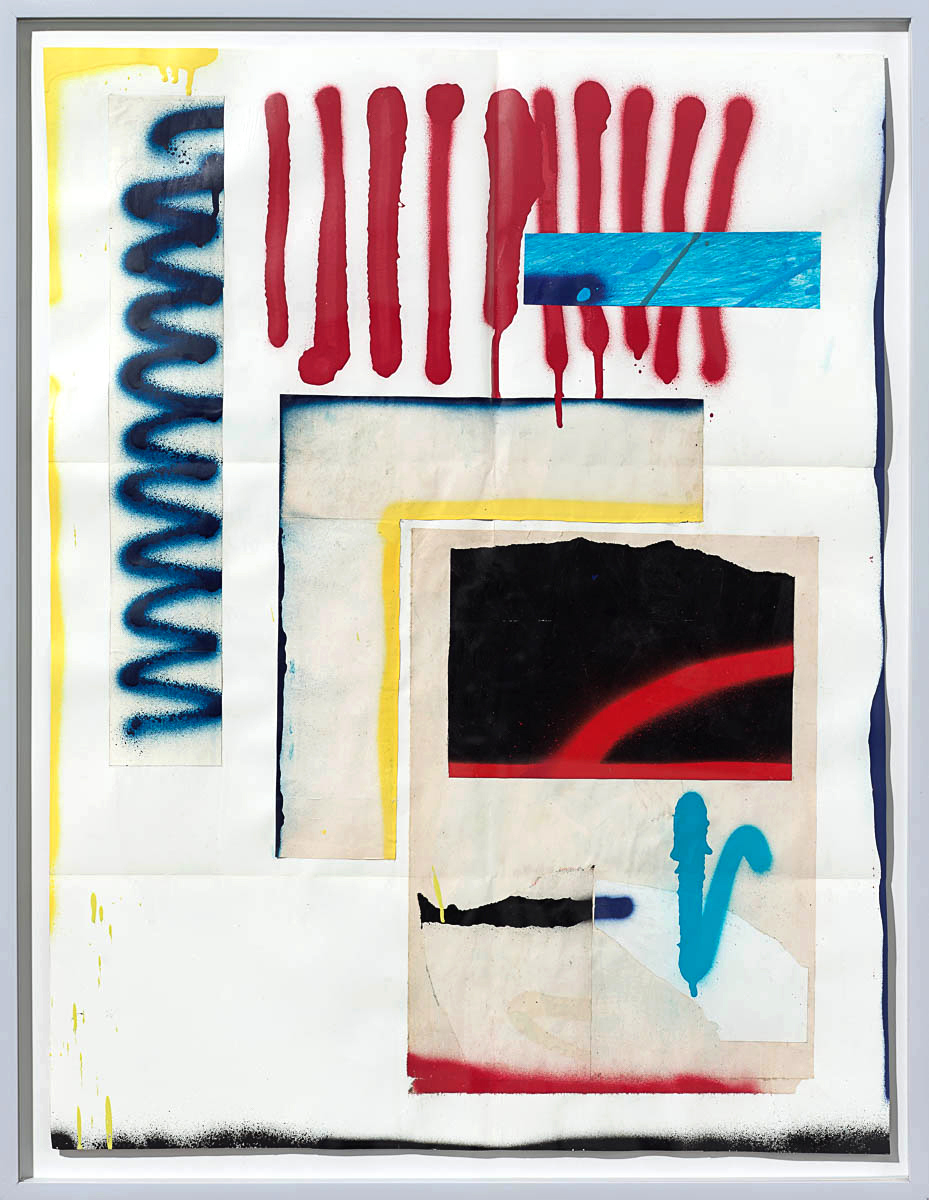 Josh Slater     Favorite Comet   , 2015   Painted cut, torn, and pasted printed papers, spray paint on printed paper   Framed dimensions:   29 x 22 3/8 in. (73.66 x 56.83 cm.)  , JOS1053