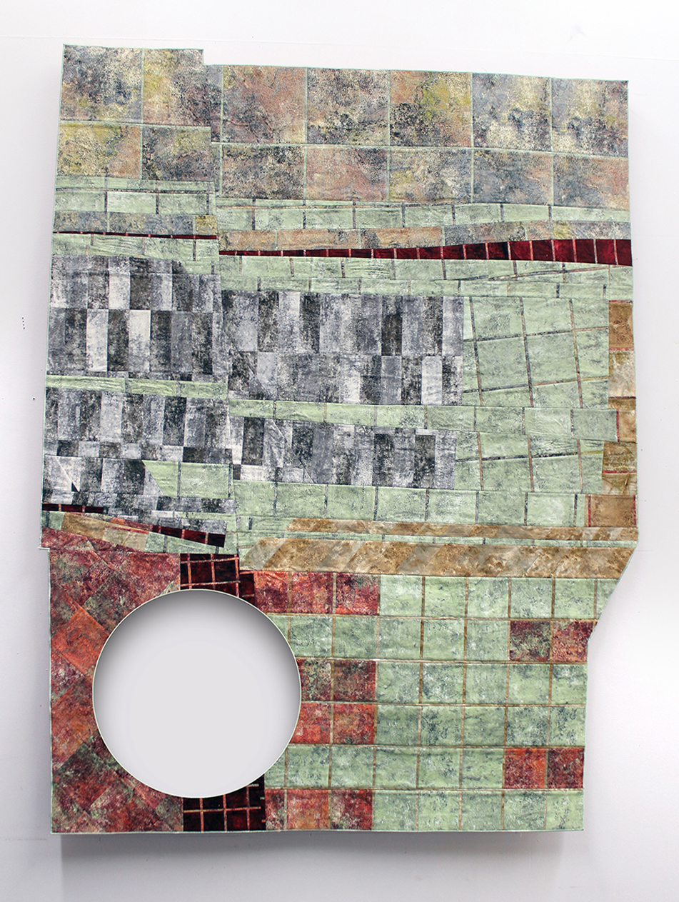 Joe Winter  , Untitled (C/S) , 2015, Pieced cotton fabrics and embroidery thread, 47 x 60 in.