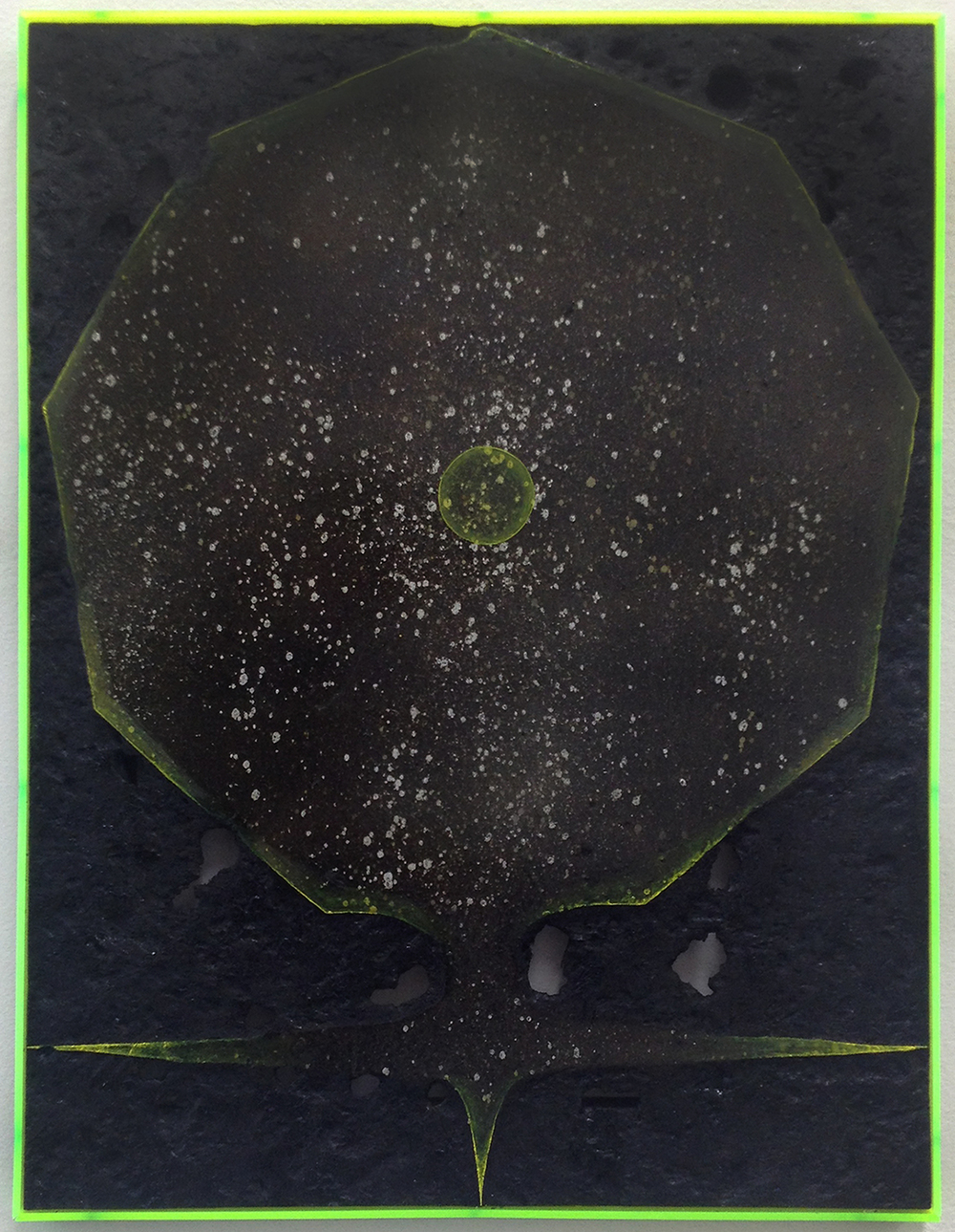 Davide Zucco ,  Black shape #2 , 2016, spray paint, pigment, burns, varnish, oil paint, plexiglass on wood, 18 x 14 inches