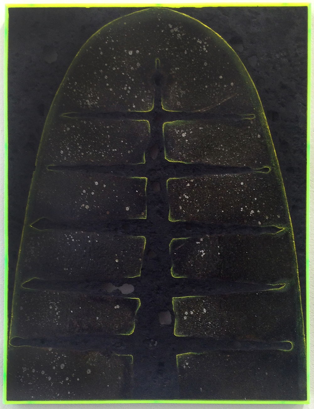 Davide Zucco ,  Black shape #3 , 2016, spray paint, pigment, burns, varnish, oil paint, plexiglass on wood, 18 x 14 inches