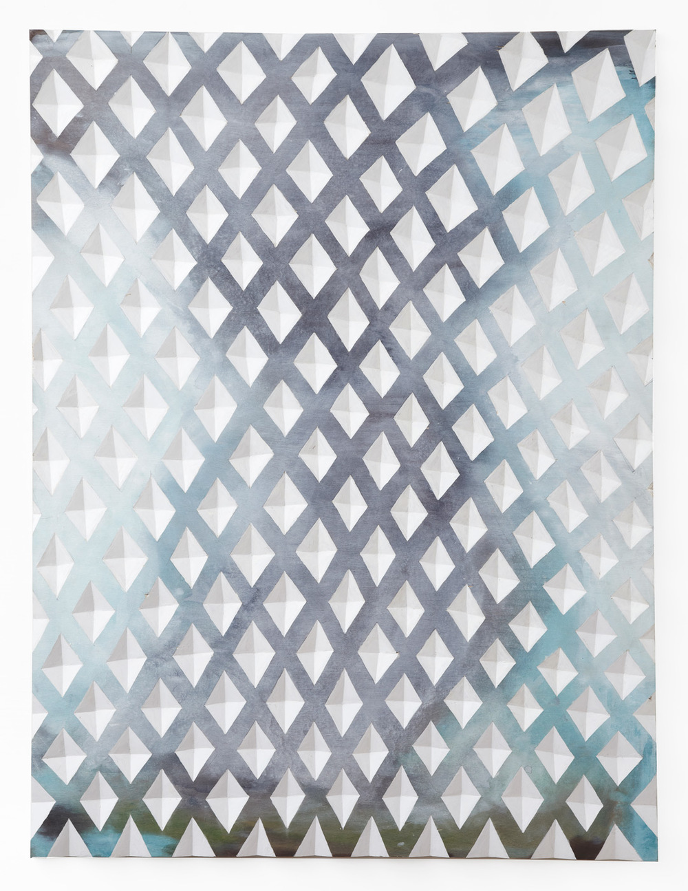Gerard Mullin, Untitled, 2013, watercolor, wood dye, and acrylic on plywood, 48 x 36 inches
